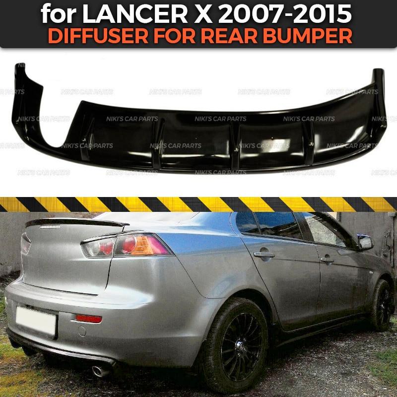 Diffuser for Mitsubishi Lancer X 2007 2015 of rear bumper ABS plastic body kit aerodynamic pad