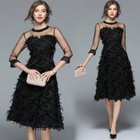2018 spring and summer new black dresses women's temperament tassel feather mesh seven point sleeves slim fluffy dress