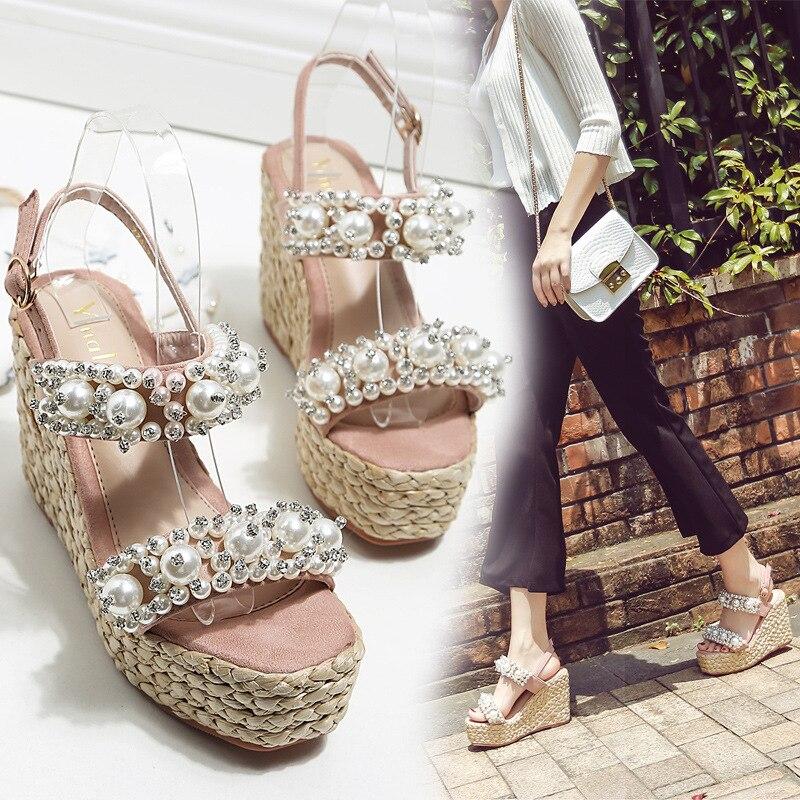 Summer New Rhinestone Handmade Pearl Wedge Heel Platform Thick crust Open Toe High Heel Sandals