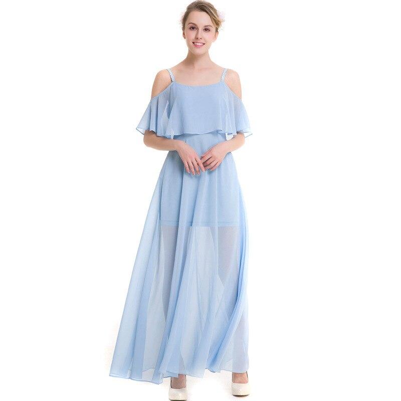 Femmes d'été longue Slip robes dames plage bleu ciel/blanc Spaghetti sangle mignon Holliday hors épaule en mousseline de soie Maxi robe