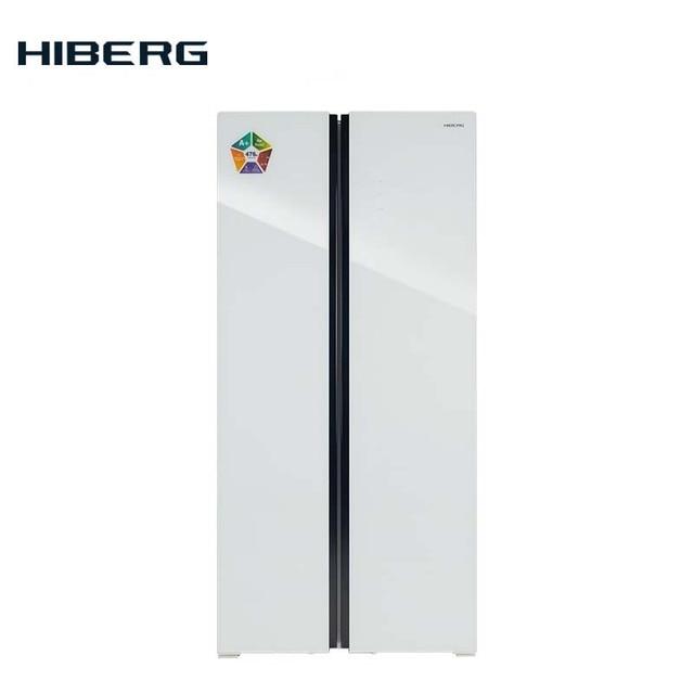 Холодильник Side-by-side HIBERG RFS-480D NFGW, фасад из белого стекла, общий обьем 276 л, (холодильное отделение 271 л, морозильное 176 л), No Frost