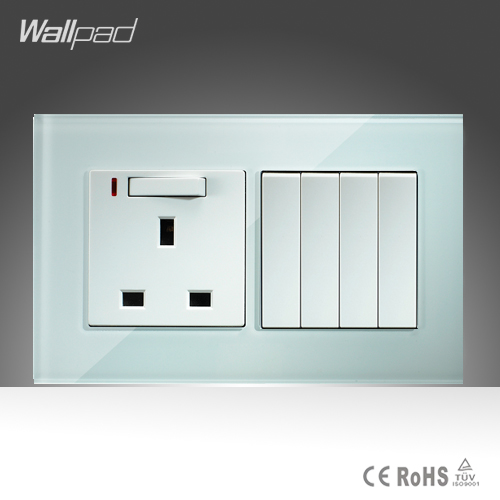4 Gang and 13A UK Switched LED Socket Wallpad 146*86mm BS CE White Crystal Glass 13A UK Socket and  4 Gang Switch Free Shipping wallpad luxury double 13 a uk switched socket goats brown leather 1 gang switch and 13a wall socket with neon free shipping