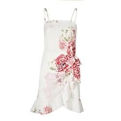 Fashion Summer Women Chiffon Dress Casual Print Sexy Strapless Sleeveless Spaghetti Strap Ruffles Female Beach Short Dress 2XL 3