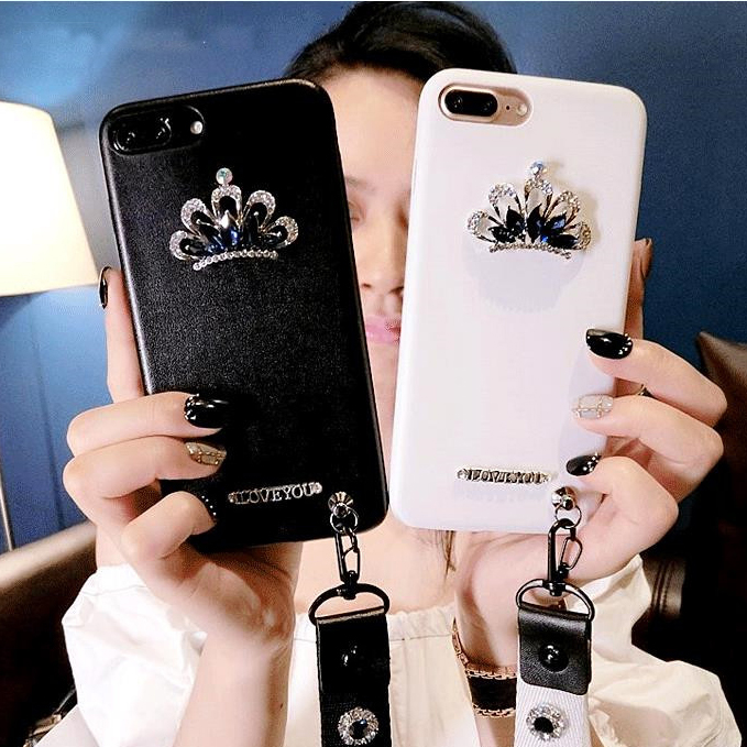 half off 69484 6ffe7 US $4.34 |For Iphone 8 8 Plus case , luxury leather crystal crown with  lanyard case For Iphone 7 7 Plus 6 6s Plus Case-in Rhinestone Cases from ...