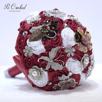 PEORCHID 2019 Burgundy Butterfly Wedding Bouquets Emerald Green/Royal Blue Diamond Pearl Crystal Bling Bridal Brooch Bouquet