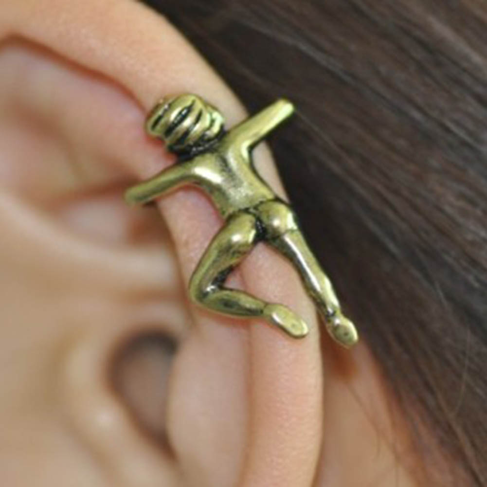 1pc Fashionable Beautiful No Ear Hole Personality Jewelry Climb Villain Ear Clip On Earring Two Colors Wholesale