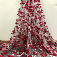 Latest African Floral Embroidery Tulle Net Lace Nigerian French Lace Fabric Wine/Green 3d Flower Lace Fabric X796 1