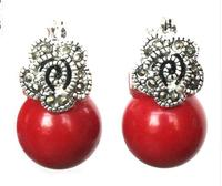 Lady Of 12mm Red Pearl Coral Flower Marcasite And 925 Silver Earrings Girls Jades Free Shipping