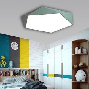 Image 3 - Macaron Pentagonal ceiling lights Acrylic LED Lamp Modern Living Room Bedroom Restaurant Kids Room Nordic Home Lighting Fixture