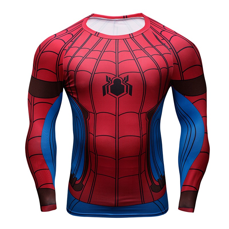 Marvel 3D Spiderman/Flashman/Black Panther/Deadpool Crossfit T-Shirt Men Long Sleeve Funny T Shirt Compression Fashion Tshirt