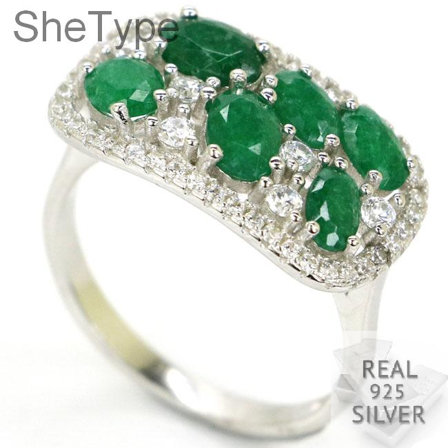 SheType Beautiful 4.1g Real Green Emerald White CZ 925 Solid Sterling Silver Rings 21x12mm