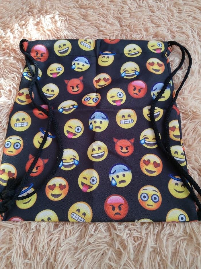 Jom tokoy 2019 new fashion Women Emoji Backpack 3D printing travel softback  women mochila drawstring bag mens backpacks photo review