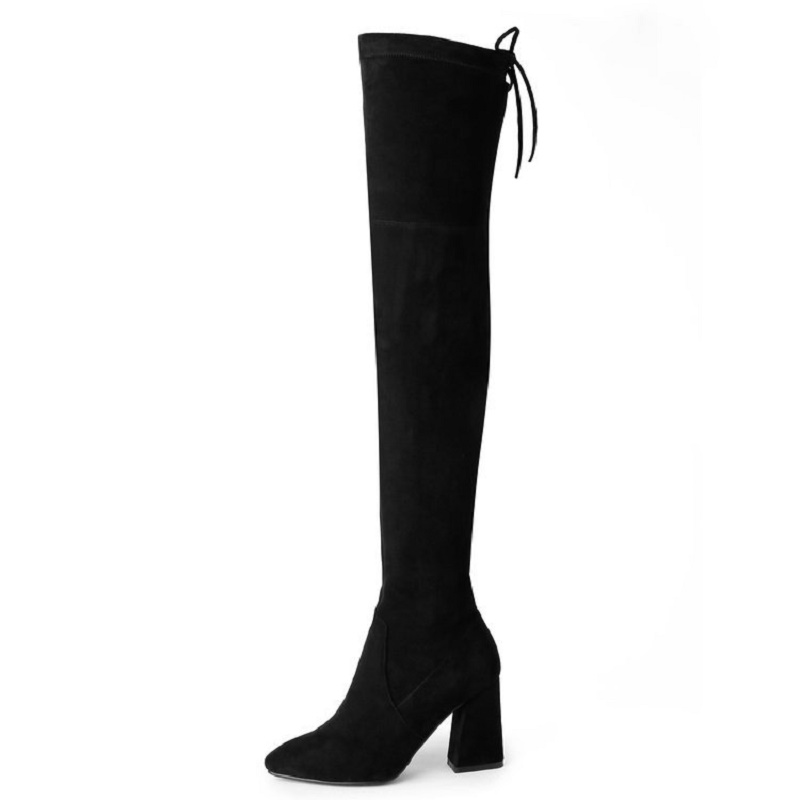 2017 autumn and winter new knee boots female pointed rough with high long canister boots