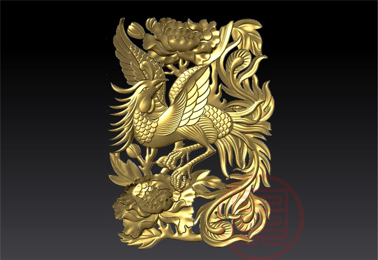 3D Model STL Format File For Cnc Router Engraving Carving Relief Phoenix And Flower Artcam Rhino Compatible