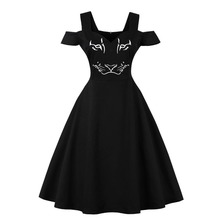 Off The Shoulder Short Sleeve Dress Black Color Rockabilly Retro Vintage Robe Femme Plus Size Women Vestidos S-4XL Ladies Dress