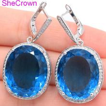 SheCrown Big Gemstone Oval London Blue Topaz CZ Ladies Present 925 Silver Earrings 40x20mm