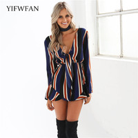 YIFWFAN Brand 2017 Fashion V Neck Women Rompers Short Striped Jumpsuit Overalls Spring Summer Autumn Jumpsuit