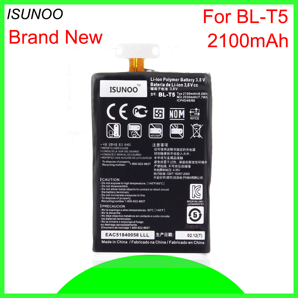 ISUNOO 10pcs/lot 2100mAh BL-T5 Replacement <font><b>Battery</b></font> For <font><b>LG</b></font> Google Nexus4 Nexus <font><b>4</b></font> Optimus G E960 E970 E973 E975 F180 LS970 image