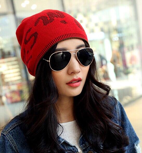 한국어 패션 니트 모자 편지 가을과 겨울 모자 귀여운 간단한 스타일 여성 모자 따뜻한 더블 7 색 1 개 새로운 브랜드 도착