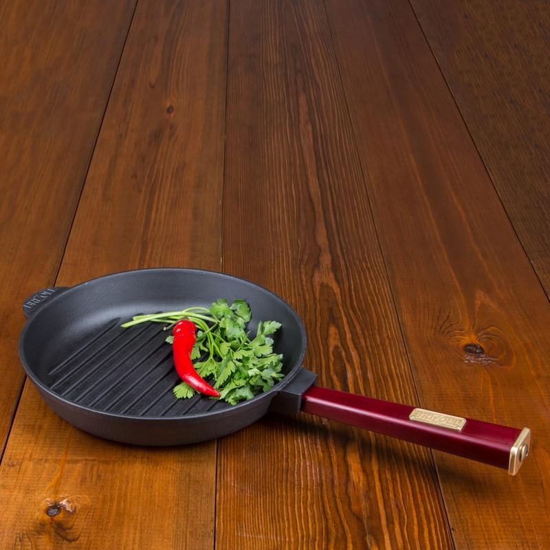 Frying Pan GRILL  Cast Iron With Wooden Hand  Caucasian Grill  Coffee Pot Bowler Pan Frying Pan Mug 02440G-R2