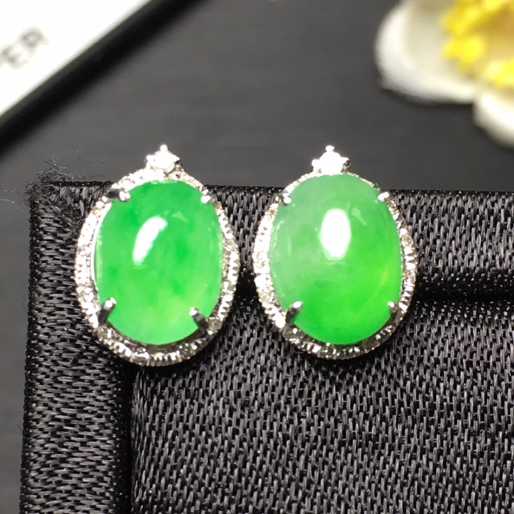 Fine Jewelry Collection Real 18K White Gold AU750 100% Natural Green Jade Gemstone Myanmer Origin Stud Earrings for Women цена