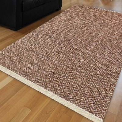 Else Nordec Brown Locked Ikat Authentic Modern Anti Slip Kilim Washable Decorative Plain Paint Woven Carpet Rug