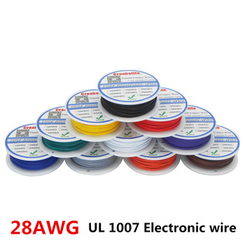 50 meter 28awg flexible silicone wire cable wires rc cable copper wire soft electrical wires cable for diy industry 10 colors 10m UL 1007 28AWG 10 Colors Electrical Wire Cable Line Tinned Copper PCB Wire RoHS UL Certification Insulated LED Cable