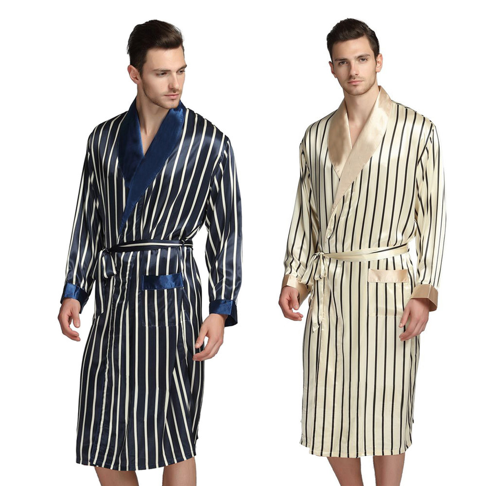 Mens Silk Satin Pajamas Pajama Pyjamas PJS Sleepwear Robe Robes Nightgown  Robes   S M  L XL 2XL 3XL Plus Beige Blue Striped(China)