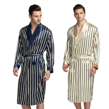 Mężczyźni Silk satynowe piżamy piżamę Pyjamas PJS Bielizna nocna Robe szaty nocne szlafroki S M L XL 2XL 3XL Plus beżowy niebieskie paski tanie tanio Mężczyzn Robes Kołnierz skrętu Z LONXU 5102 Długie rękawy Satyna Lycra jedwab