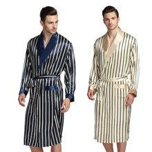 049adef662733 Мужские шелковые атласные пижамы PJS халат халаты Ночная рубашка s, m, l,  xl 2XL 3XL плюс бежевый синий полосатый