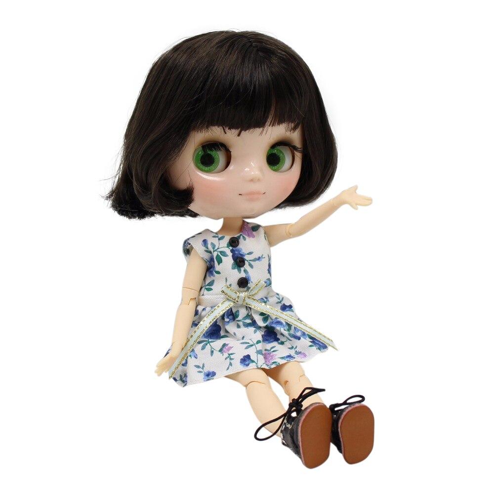Factory blyth Middie Doll short black dark brown hair joint doll 1 8 20cm BL950