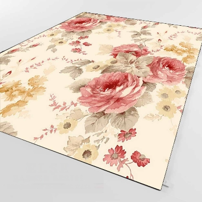Else Red Vintage Rose Green Leafs Yellow Flower 3d Print Non Slip Microfiber Living Room Decorative Modern Washable Area Rug Mat