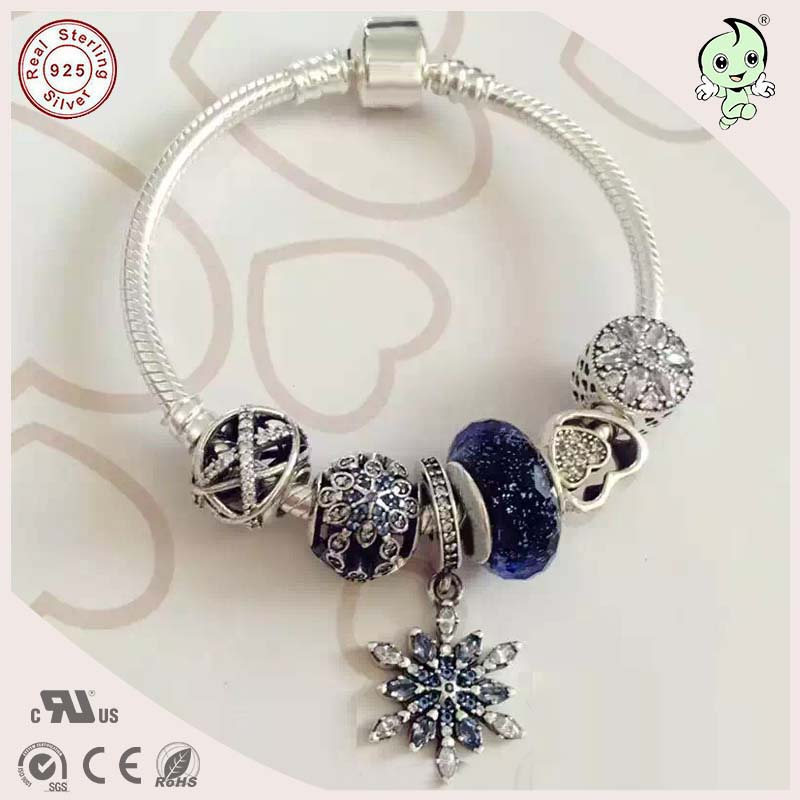 Noble Dark Blue Series 925 Sterling Silver Bracelet With Silver Snowflake And Heart Charms nokia 230 dark silver