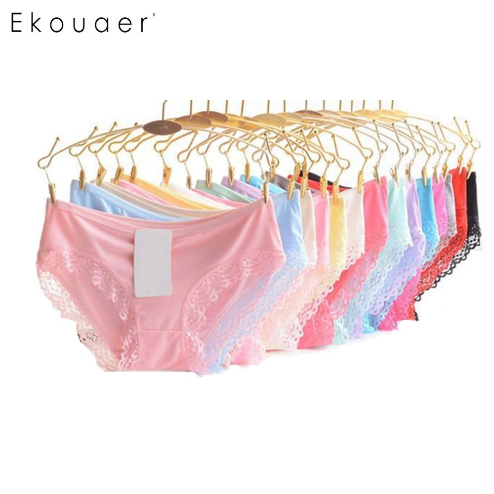 Ekouaer 10PCS/Pack Women UndeRwear   Panties   Mix Color Soft Lift Hip Breathable Solid Low Waist   Panty   Sexy Cotton Underwear Briefs