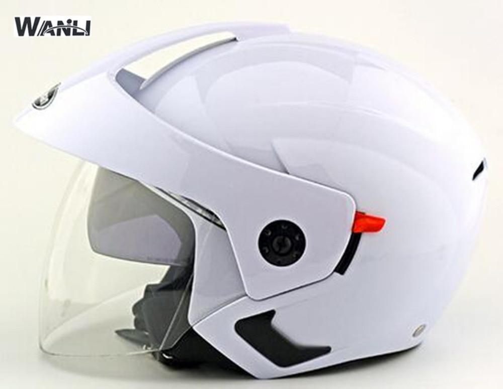 2017 nouveau casque 3/4 face ouverte crusie scooter moto casque avec intérieure noir lentille double visière casque pour homme femmes casque
