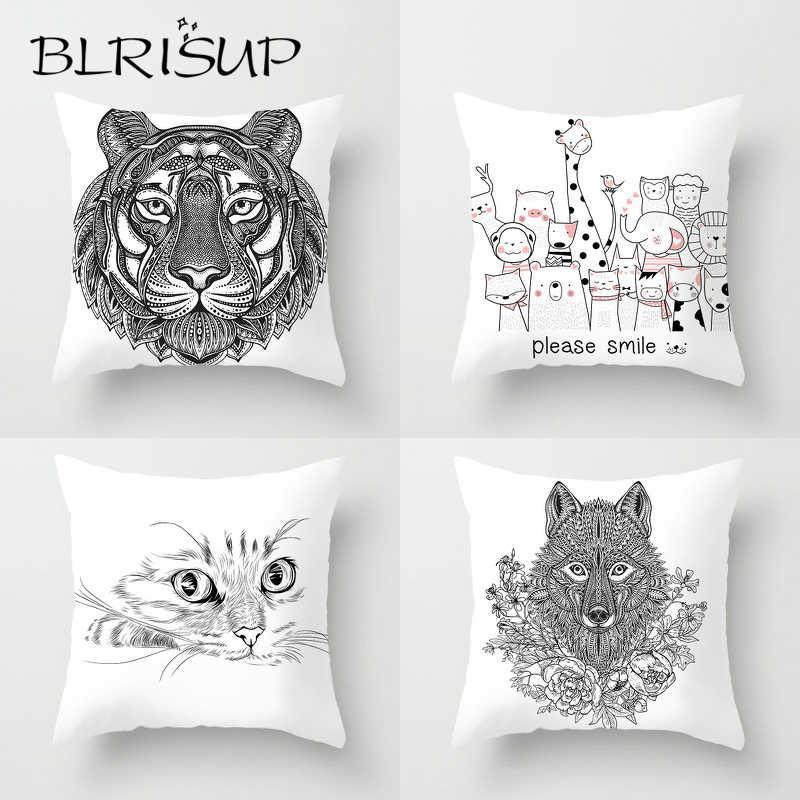 BLRISUP สีขาวและสีดำสีการ์ตูนสัตว์พิมพ์นุ่มโยนหมอนกรณีบ้านโซฟารถหมอนตกแต่งหมอน
