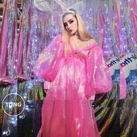 Vintage lantern Sleeve tropical laser Shine Pink Jacket Coat Women Sexy Pajama Party Costumes Adult Girls Bling Hologram