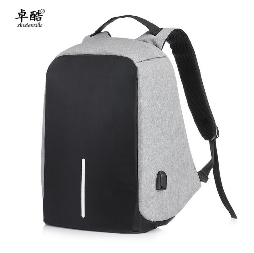 Men women Canvas laptop Backpack Anti theft College Students School Backpack USB Charging Design Teenager Travel Computer Bag