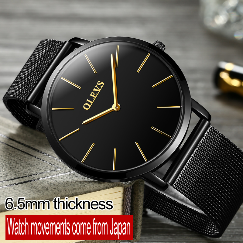 Mens Watches Top Brand Luxury OLEVS Men Ultra thin Watch Sport Water Resistant Wrist watch Stainless Steel Quartz Diver Watch longbo ultra thin stainless steel quartz wrist watch for men silver