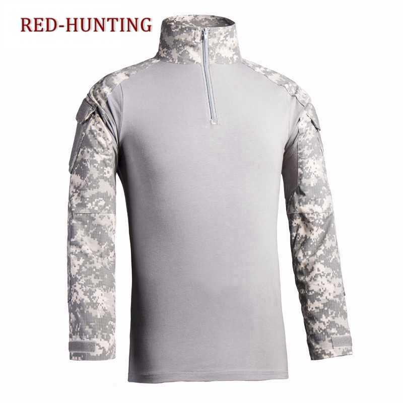 אחיד מרובה צבאי גברים חולצת טריקו שרוול ארוך חולצת Combat Airsoft פיינטבול צבא הסוואה בגדים טקטיים חולצה