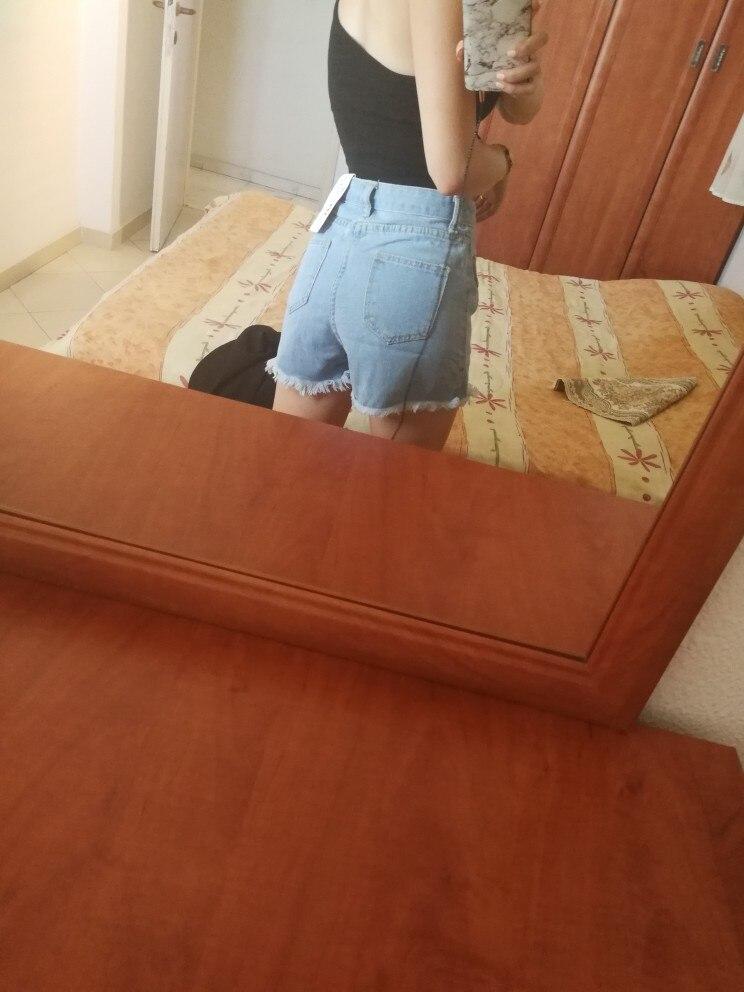 High Quality Denim Shorts Women Summer High Waist Skorts Skirts Slim Blue Short Jeans Vintage Short Feminino photo review