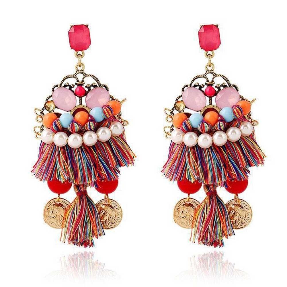 1 Pair Hot Sale Ethnic Bohemia Handmade Tassel Earrings Coin Pearl Earings  Fashion Vintage Jewelry For