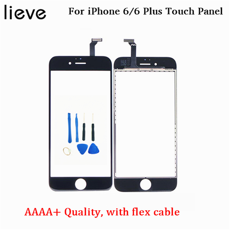 Mobile Touch Panel for iPhone 6 6Plus touch screen outer glass replacement with flex cable not LCD assembly