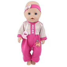 Born New Baby Fit 18 inch 40cm- 43cm Clothes For Doll Pink Red Purple Dress Suit Clothes Accessories For Baby Birthday Gift born new baby fit 18 inch 43cm clothes for doll blue pink red star with hairhand clothes accessories for baby birthday gift
