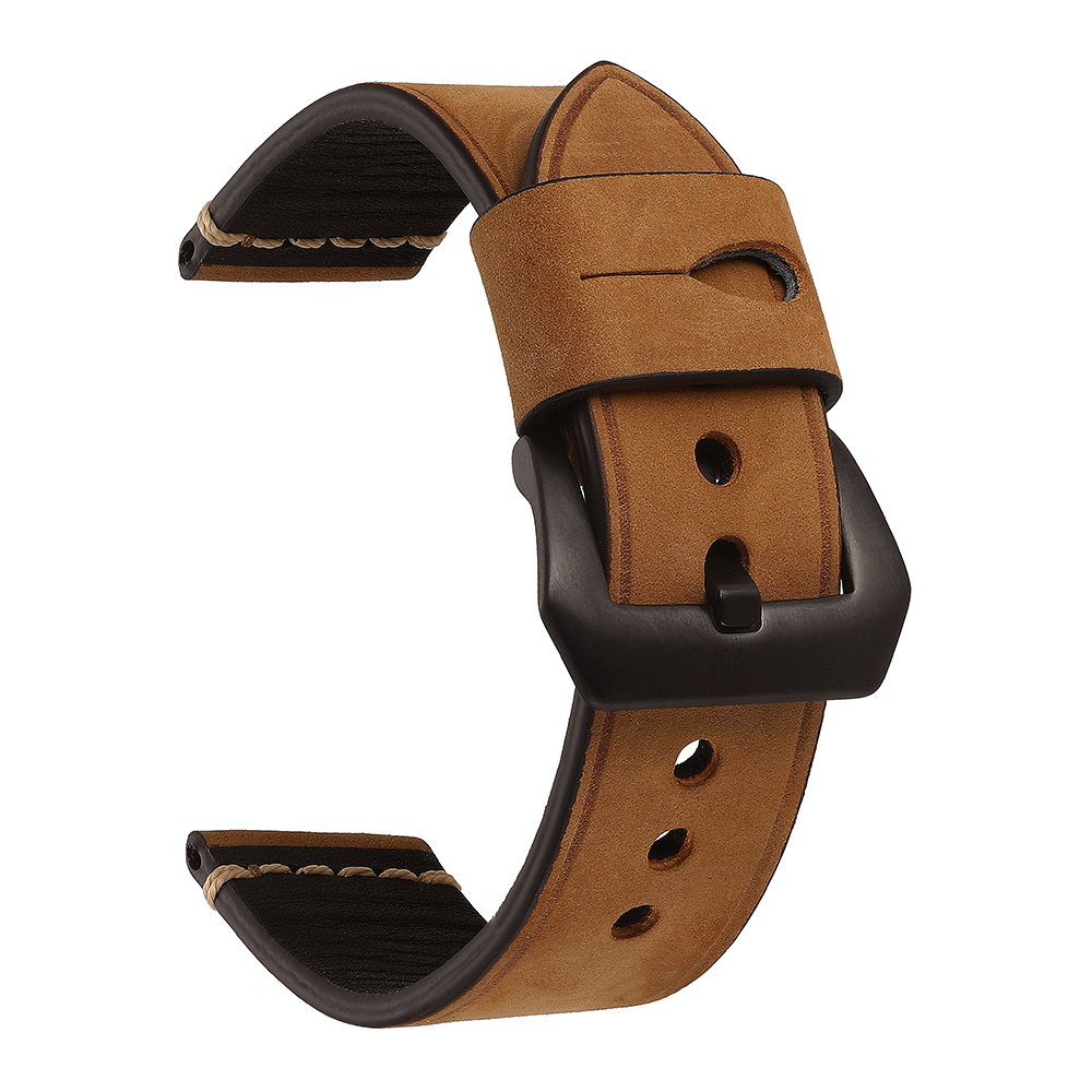 EACHE 20mm 22mm 24mm watch band straps High Quality Crazy Horse 100% Genuine Leather men Watchband with Handmade silver buckle high quality 20mm 22mm 24mm leather watch strap man watch straps black brown gray stainless steel buckle thick line watch band