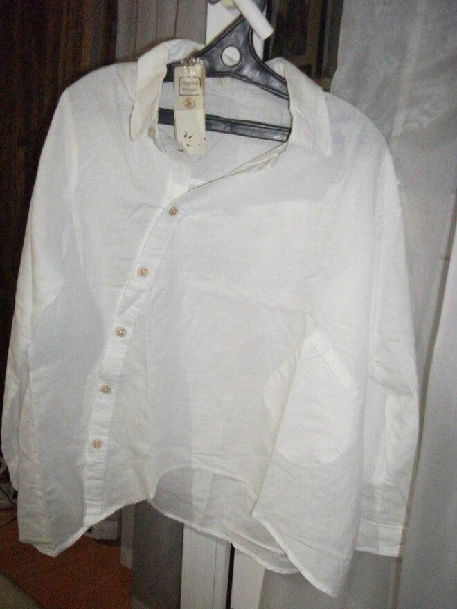 Johnature 2018 Autumn New Women Shirt Cotton Linen Button White Blue Floral Turn-down Collar Irregular Loose Blouse