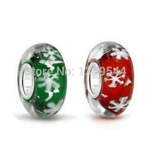 Everbling Jewelry Christmas Snowflake Gift  Set  925 Silver Glass Foil Charm Bead Fit European Pandora Charms Bracelet