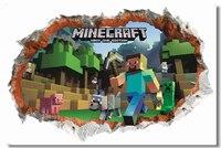 Custom Canvas Wall Decor Game Poster Minecraft Wall Stickers 3D Wallpaper Kids Room Decal Minecraft Steve