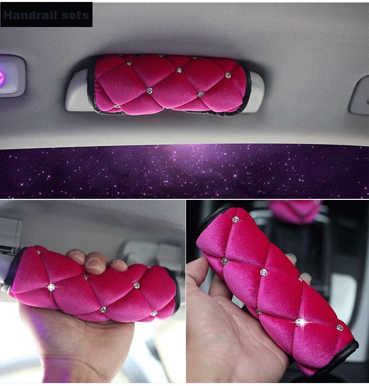 High-Quality-Plush-Car-Seat-Belt-Cover-Soft-Shoulder-Pad-Crystal-HandBrake-Gear-Shifter-Cover-Car-Styling-Interior-3