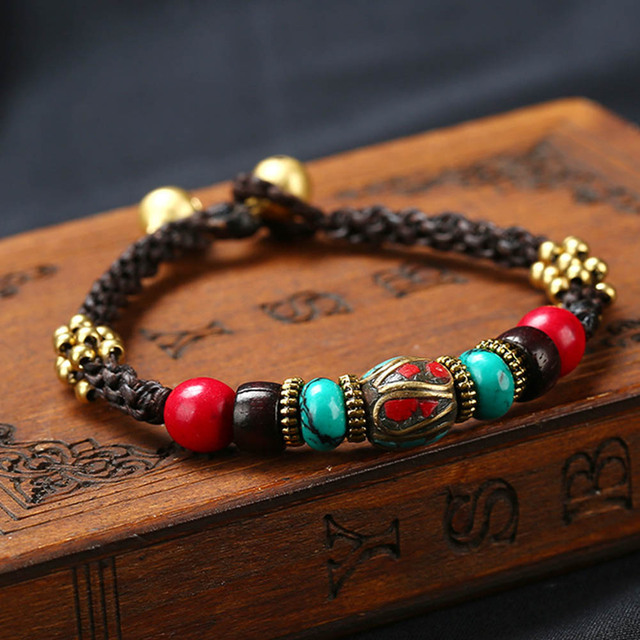 Handmade Exotic Nepal Bead Wax Rope Bracelet Natural Stone Beaded For Jewelry Bijoux Gift